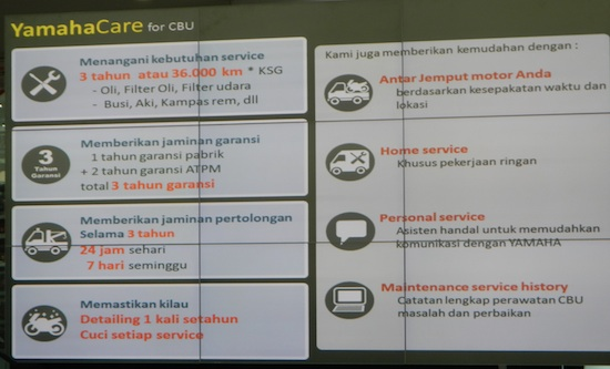 Yamaha care for CBU