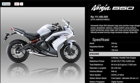 harga ninja 650