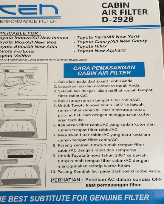 Ken Cabin Air Filter 03