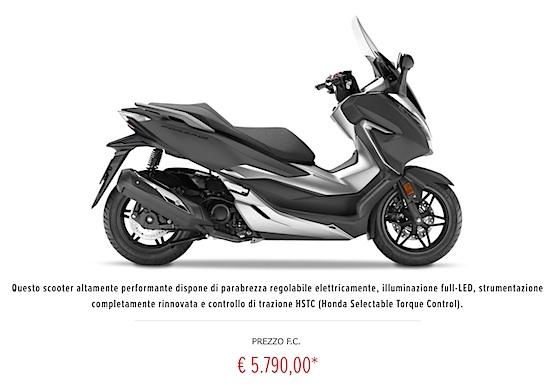 Price Honda Forza 300 Europe